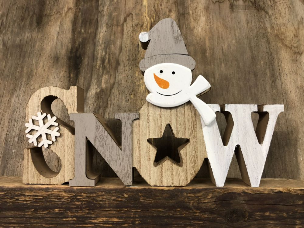 SNOW Grey & White Wooden Snowman Christmas Plaque